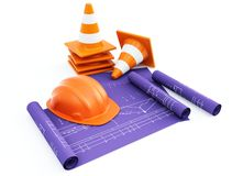 Traffic cones and hardhat with plans Royalty Free Stock Photos