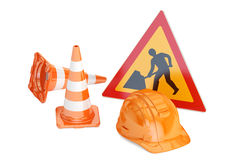 Traffic cones, hardhat and road sign. Under construction concept Royalty Free Stock Image