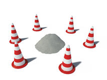 Traffic cones with heap Royalty Free Stock Photos