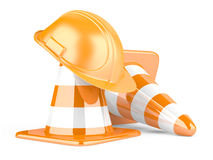 Traffic cones and helmet Royalty Free Stock Image