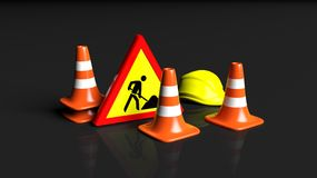 Traffic cones,helmet and warning sign Stock Images