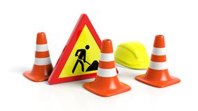 Traffic cones,helmet and warning sign Royalty Free Stock Photography