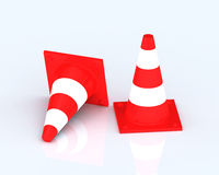 Traffic cones, Isolated  on white Royalty Free Stock Photography