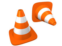 Traffic cones. Isolated on white. Stock Photos