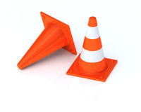 Traffic cones, Isolated  on white background Stock Photos