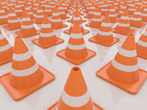 Traffic Cones Isolated on White Background, 3D Render Stock Images