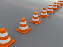 Traffic cones line Royalty Free Stock Image