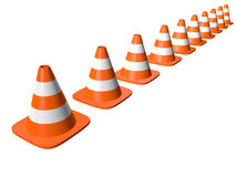 Traffic cones in line. Isolated on white. Stock Image