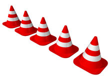 Traffic cones lined up. On a white background stock illustration