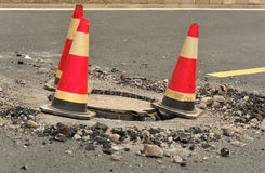 Traffic cones and manhole cover  Stock Photo
