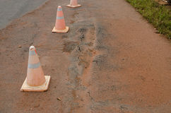 traffic cones mark a road that has been damaged Royalty Free Stock Photos