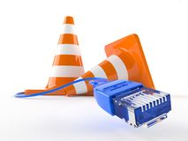 Traffic cones with network cable Royalty Free Stock Photography