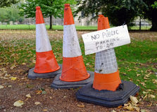 Traffic cones with no parking sign Royalty Free Stock Image