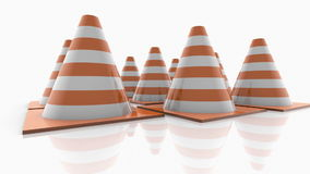 Traffic cones with orange stripes on white stock footage
