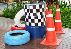 Traffic Cones with Painted Tires and Traffic Barrels Stock Image