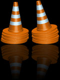 Traffic cones piles Stock Photography