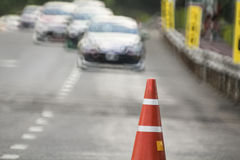 Traffic cones in race car track Stock Photos