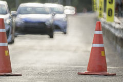 Traffic cones in race car track Royalty Free Stock Photography