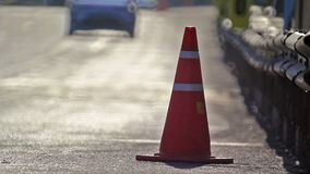 Traffic cones in the race car track. stock footage