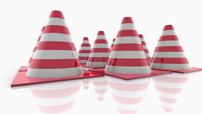 Traffic cones with red stripes on white stock video