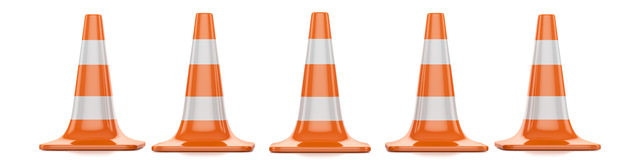 Traffic cones. Restrictive red traffic cones with white lines  on a white background Royalty Free Stock Images
