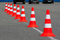 Traffic cones on road Stock Images