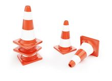 Traffic cones, road construction. On a white background Royalty Free Stock Photos