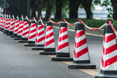 Traffic Cones On Road. Row of traffic Cones On Road Stock Photos