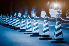 Traffic Cones On Road. Row of traffic Cones On Road Stock Photo