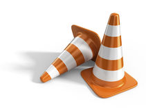 Traffic cones. Road sign. 3D Icon isolated Royalty Free Stock Photography
