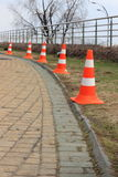 Traffic cones. In a row. fence the danger zone royalty free stock images