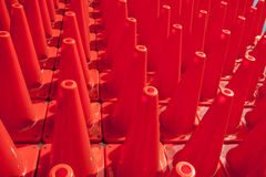 Traffic Cones. Rows of orange traffic cones Royalty Free Stock Image