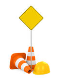 Traffic Cones, Safety Helmet and Blank Warning Sign Royalty Free Stock Photos