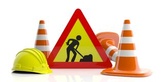 Traffic cones and sign and hard hat on white background. 3d illustration Stock Photography