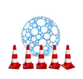 Traffic cones and sphere Stock Image