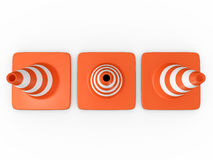 Traffic Cones. Three orange highway traffic cones with white stripes, top view, isolated on white background Stock Photography