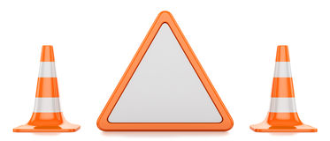 Traffic cones, triangle. Two traffic cones and restrictive triangle  on white background Royalty Free Stock Photography