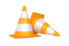 Traffic cones on white background Royalty Free Stock Images