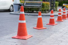 Traffic Cones or witches hat on road. Traffic Cones or witches hat at parking area Stock Image