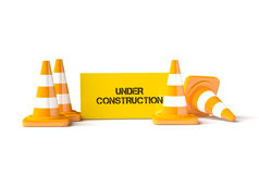 Traffic cones with work helmet  on the white. Stock Image