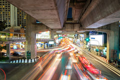 Traffic congested car light in Bangkok, Thailand Stock Photo
