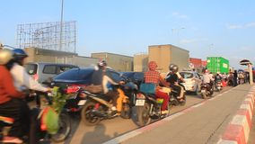 Traffic congestion by accidents. HAI DUONG, VIETNAM,  traffic congestion by accidents on November, 29, 2014 in Hai Duong, Vietnam stock video footage
