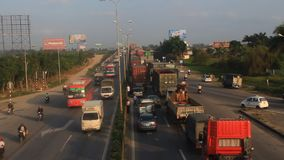 Traffic congestion by accidents stock video