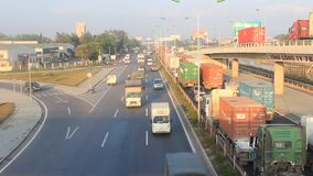 Traffic congestion by accidents stock video footage