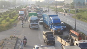 Traffic congestion by accidents. HAI DUONG, VIETNAM, traffic congestion by accidents on November, 29, 2014 in Hai Duong, Vietnam stock video