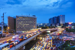 Traffic Congestion in Cities. The problem of traffic congestion in major cities of India. Photograph shows the evening traffic in Hitec City, Hyderabad Stock Image