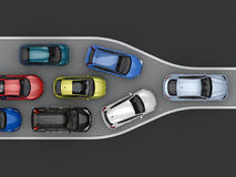 Traffic congestion due to narrowing of the road. Top view. 3d rendering Stock Photos
