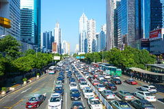 Shenzhen city traffic jam congestion main avenue