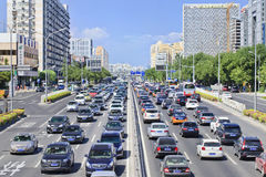 Traffic congestion on Financial Street, Beijing, China. BEIJING-AUG. 24. Traffic jam at 2th ring road. The average weekday congestion time in first half year Royalty Free Stock Photos
