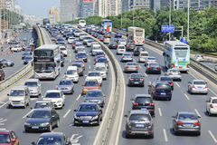 Traffic congestion on Financial Street, Beijing, China. Royalty Free Stock Image